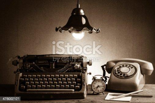 istock Still life  retro office 475002121