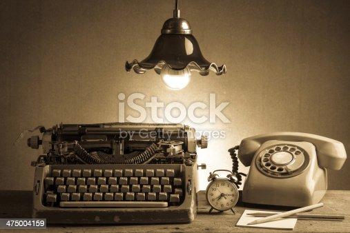 istock Still life  retro office 475004159