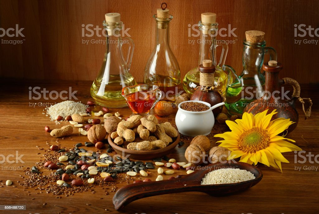 Still life seeds and oils useful for health stock photo