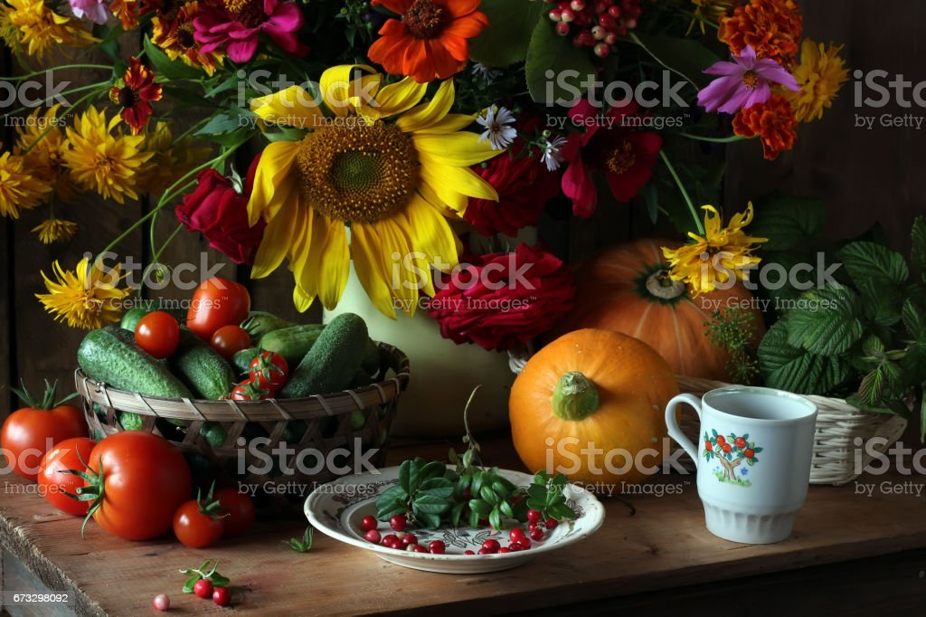 Still life with a bouquet of cultivated flowers royalty-free stock photo