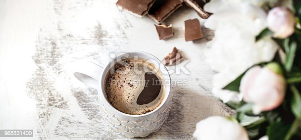 Still Life With A Cup Of Coffee And Flowers Stock Photo & More Pictures of Arrangement
