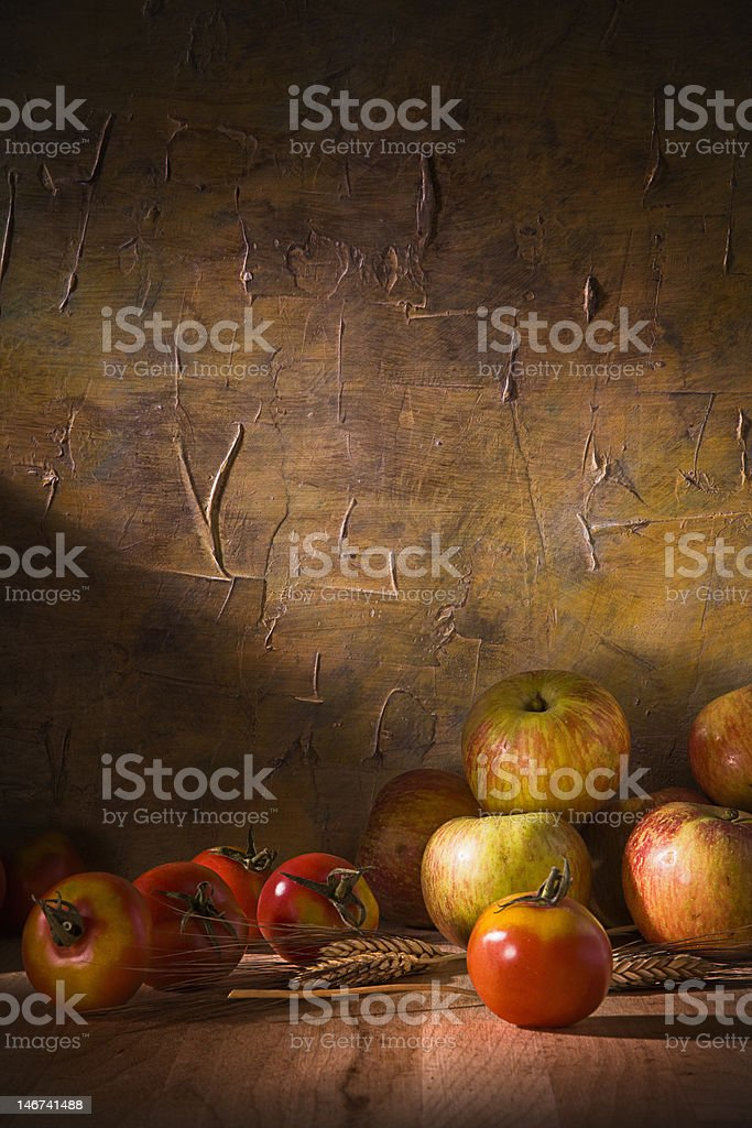 Still life with apples and tomatoes royalty-free stock photo