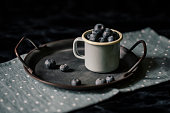 Still life with blueberries