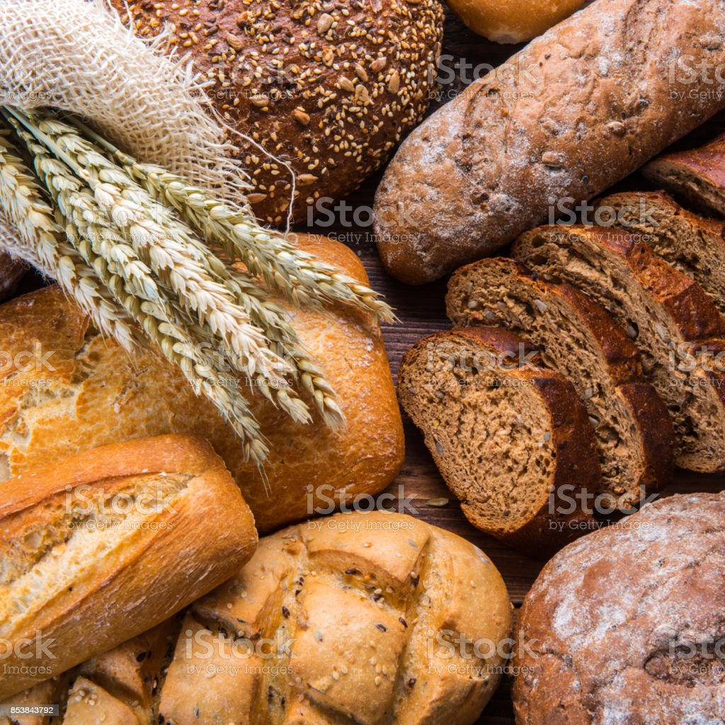 Still life with breads on the wooden timber stock photo