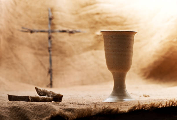 Still Life With Chalice Of Wine And Bread stock photo