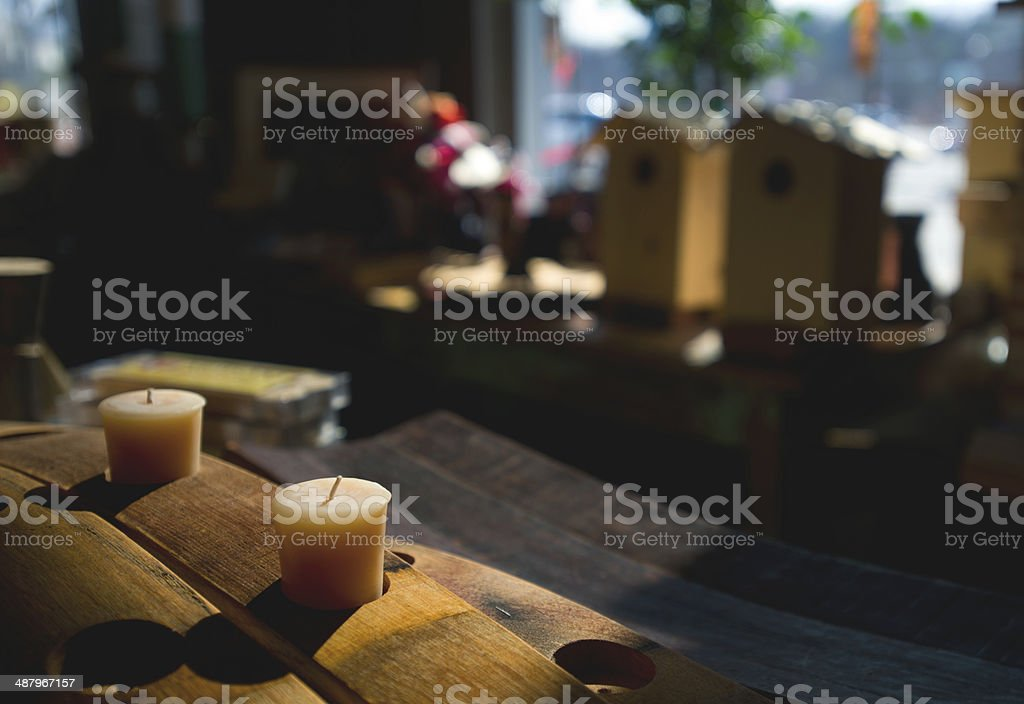 still life with christmas decoration stock photo