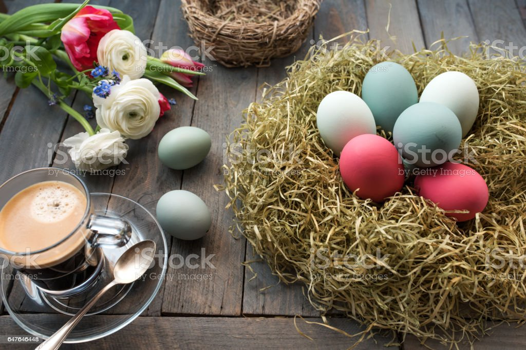 Still life with coffee and easter eggs stock photo