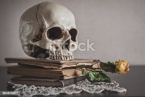 1176385551istockphoto Still life with dry roses and skull on vintage book and lace 954846672