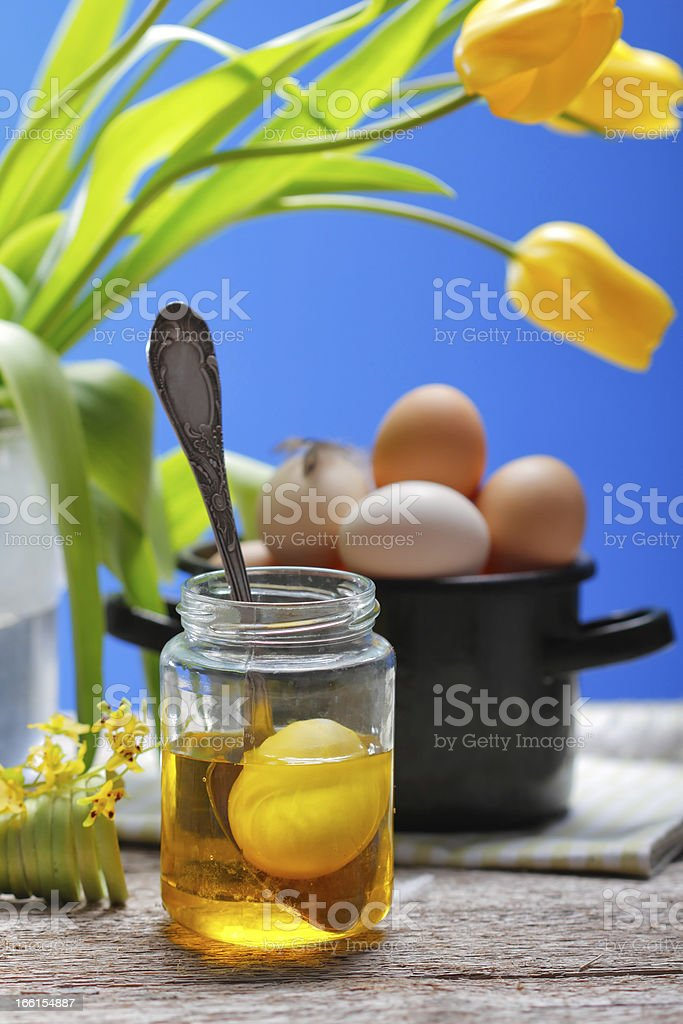 Still life with eggs and tulips royalty-free stock photo