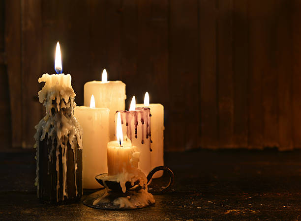 Still life with evil candles and copy space stock photo
