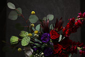 Still life with flowers in black