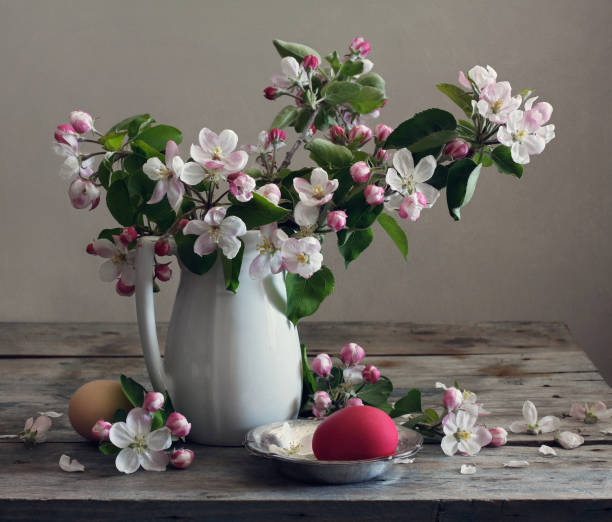 Still life with flowers of apple and eggs on wooden tabletop stock photo