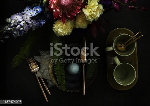 Still life with flowers on dark background