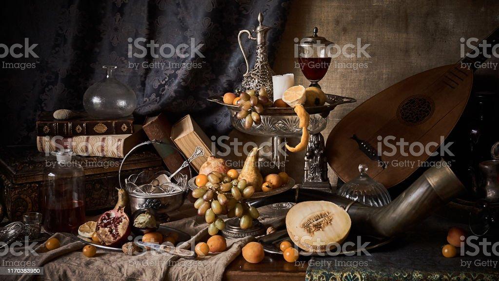 Stilleven met vruchten - Royalty-free Abrikoos Stockfoto