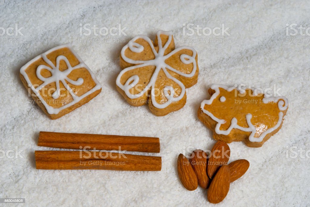 Still Life with Gingerbread, Cinnamon and Almond stock photo