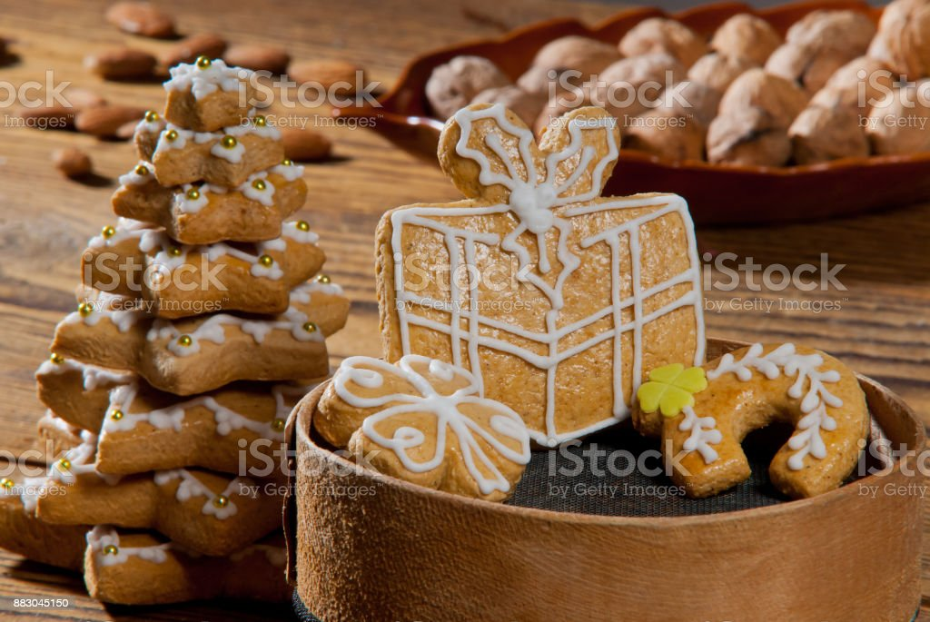 Still Life with Gingerdreads on the Wooden Desk stock photo