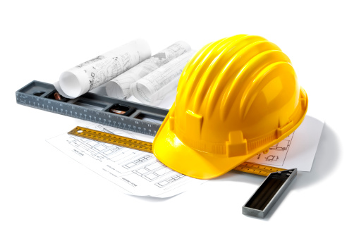 isolated hard hat with rulers on white