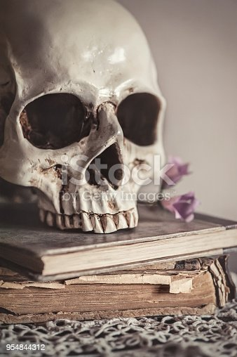 1176385551istockphoto Still life with human skull and old vintage book on lace 954844312