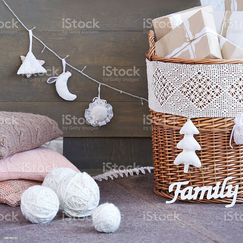 Still life with interior Christmas decoration elements stock photo