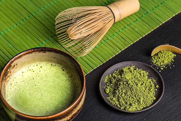 静物、日本の抹茶 - 抹茶 ストックフォトと画像