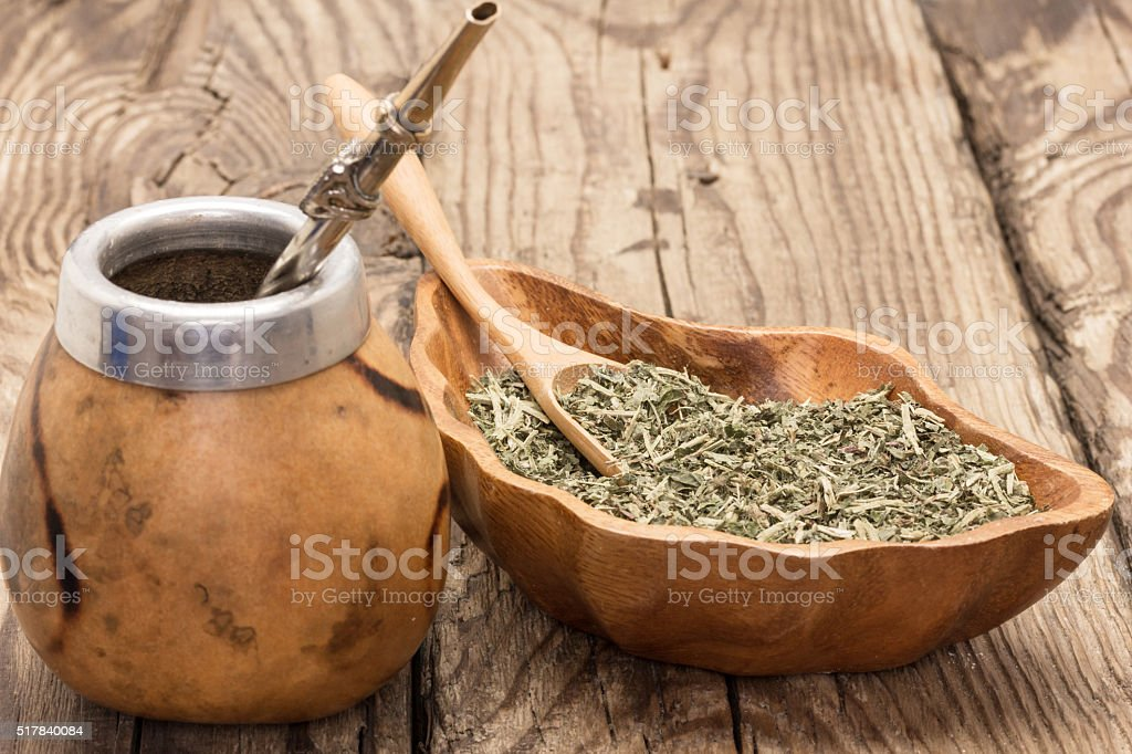 still life with mate tea accessories stock photo