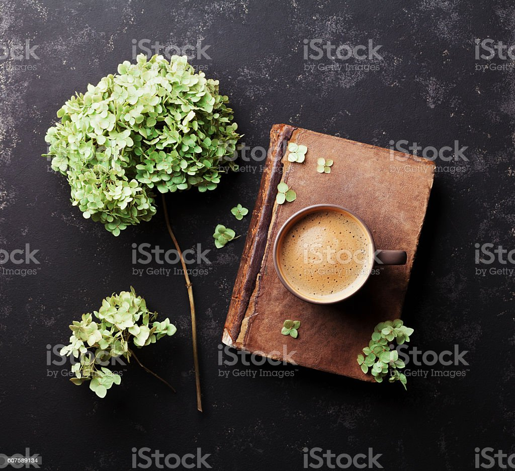 Still life with old book, coffee and dried flowers hydrangea. stock photo