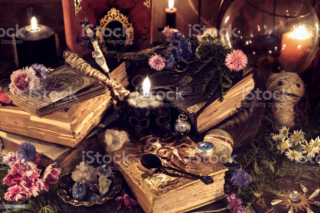 Still Life With Old Magic Books And Ritual Objects In Mystic