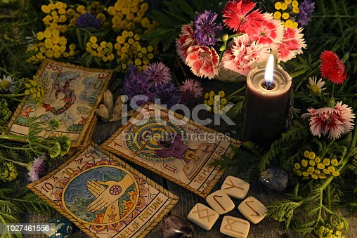 Mystic background with ritual esoteric objects, occult, fortune telling and halloween concept