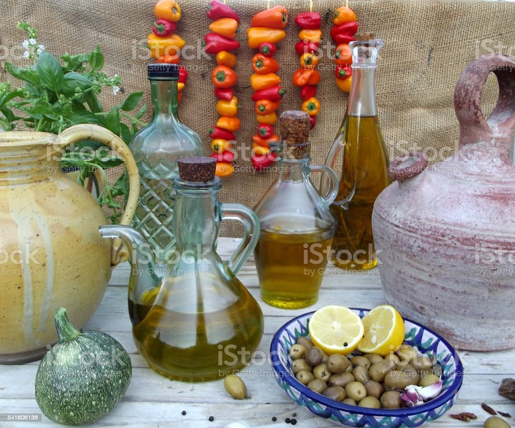 still life with olive oil stock photo