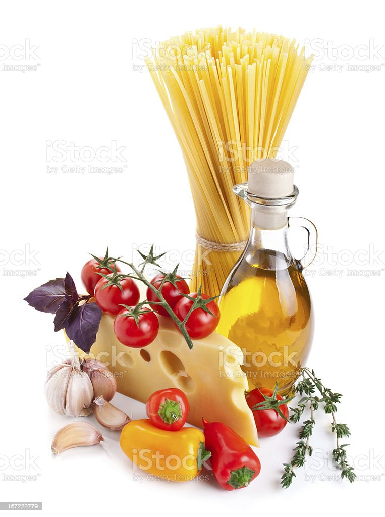 Still life with pasta ingredients isolated on white royalty-free stock photo