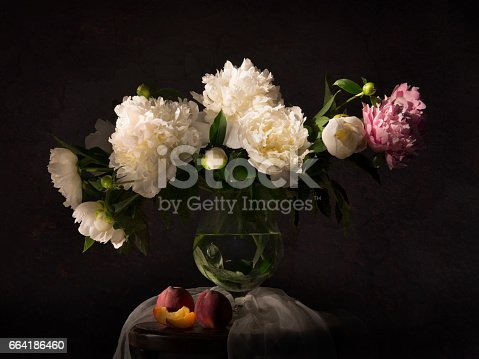 istock Still life with peonies and necatrines 664186460
