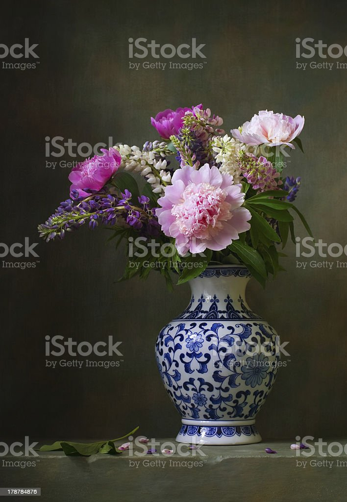Still life with peonies stock photo