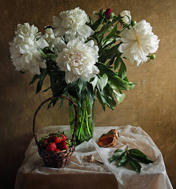 Still life with peonies strawberries and sea shell stock photo