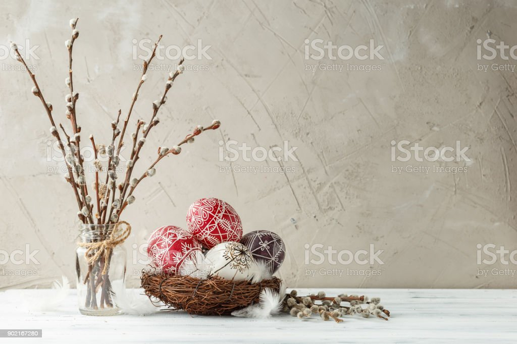 Still life with Pysanky, decorated Easter eggs stock photo
