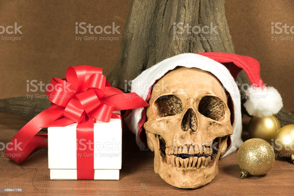 Still life with skull and present stock photo