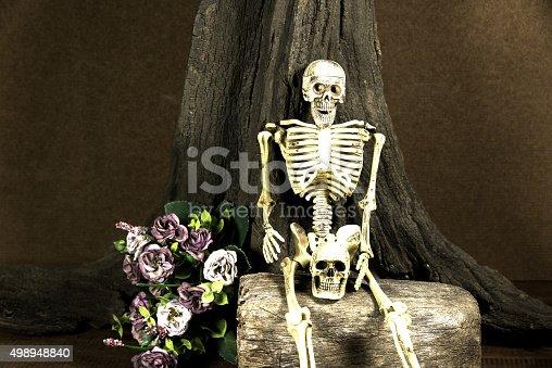 1176385551 istock photo Still life with skull, love story set, dark concept 498948840