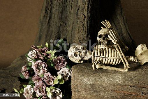 1176385551 istock photo Still life with skull, love story set 498722206