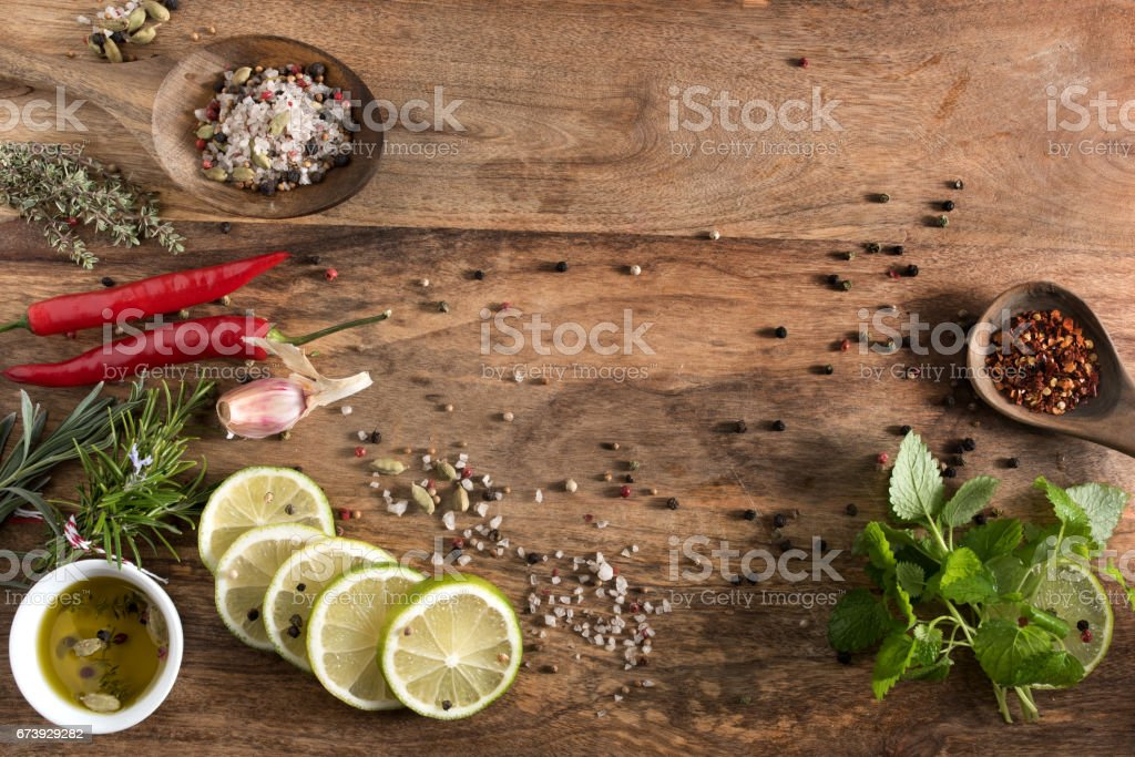 Still life with spices and herbs stock photo