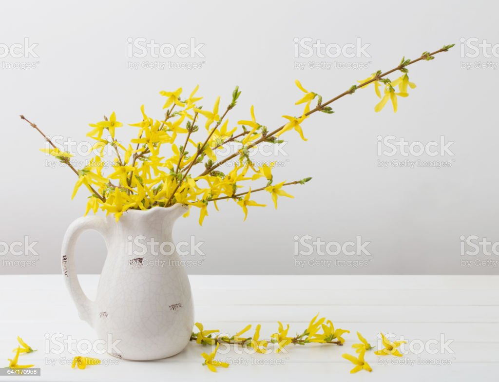 still life with spring flowers stock photo