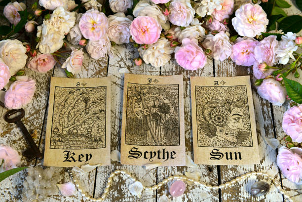 Still life with tarot cards, Lenormand oracle ritual. stock photo