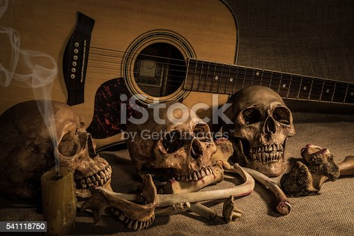 istock Still life with three skull and bones over guitar background 541118750