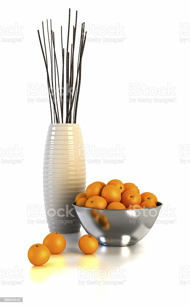 still life with vases and oranges royalty-free stock photo