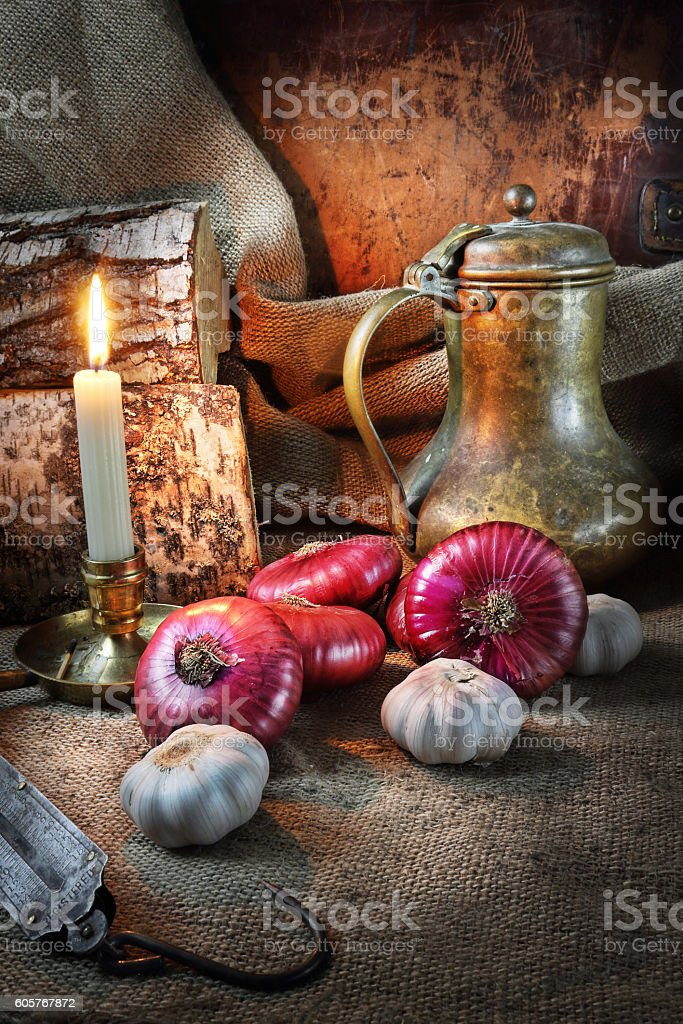 Still life with vegetables in a retro style stock photo