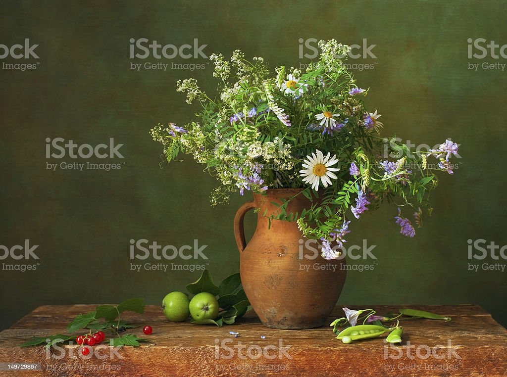 Still life with wildflowers royalty-free stock photo