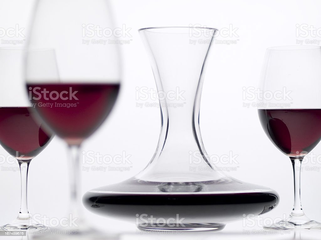 Still Life with Wine Decanter on White royalty-free stock photo