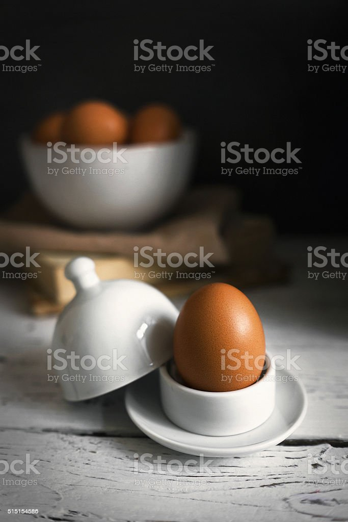Still life with yellow eggs stock photo