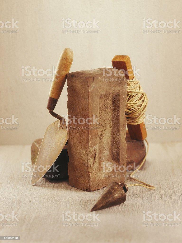 Still Life-Bricks and Trowel stock photo