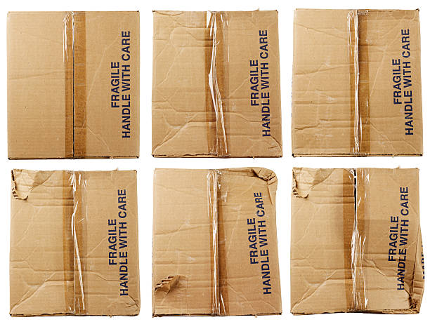 still life-card board box fragile - fragile stock pictures, royalty-free photos & images