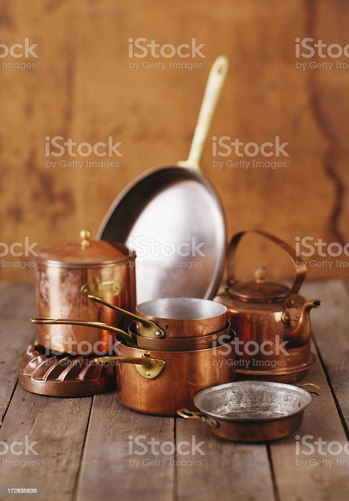 Still Life-Copper Pots stock photo
