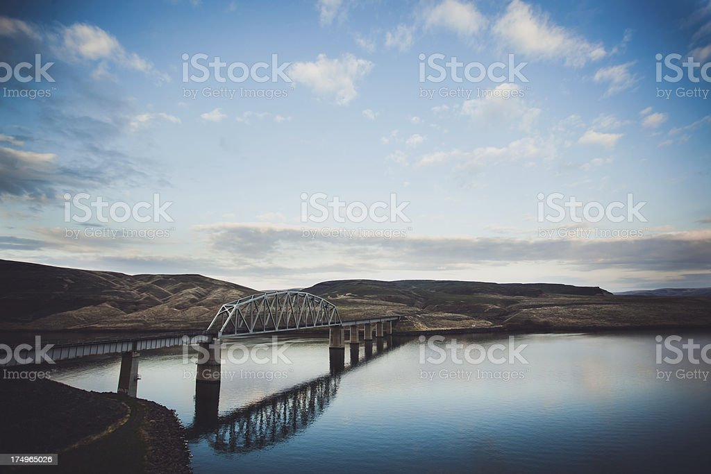 Still River Sunset Bridge royalty-free stock photo